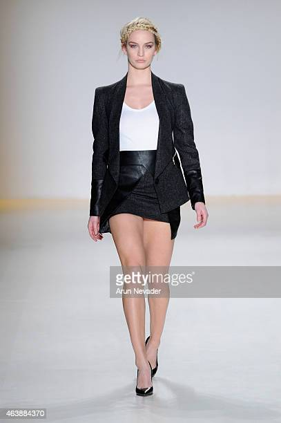 A model walks the runway in a design by Altaf Maaneshia at the New York Life fashion show during MercedesBenz Fashion Week Fall 2015 at The Salon at...