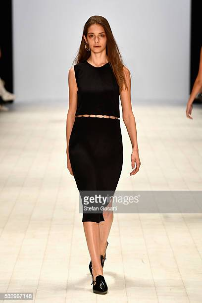 A model walks the runway in a design by Anna Quan at the StGeorge Project NextGen show at MercedesBenz Fashion Week Resort 17 Collections at...