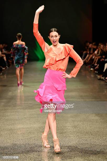 A model walks the runway in a design by Augustine during the Resene Designer show during New Zealand Fashion Week 2018 at Viaduct Events Centre on...