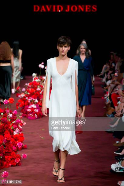 Model walks the runway in a design by Bianca Spender during the Gala Runway 1 show at Melbourne Fashion Festival on March 10, 2020 in Melbourne,...