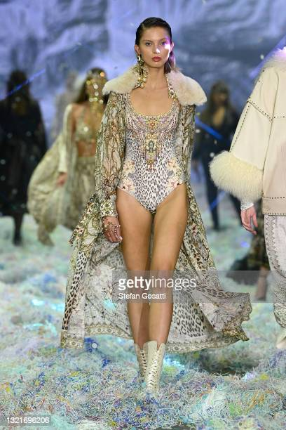 Model walks the runway in a design by Camilla during the Afterpay's Future of Fashion show during Afterpay Australian Fashion Week 2021 Resort '22...