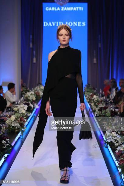 A model walks the runway in a design by Carla Zampatti during the David Jones Spring Summer 2017 Collections Launch at David Jones Elizabeth Street...