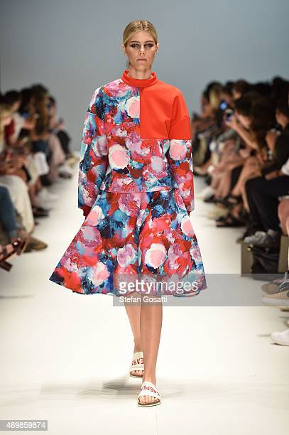 A model walks the runway in a design by Casper Pearl at the St George New Generation show at MercedesBenz Fashion Week Australia 2015 at...