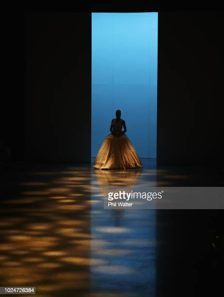 Model walks the runway in a design by Cecilia Kang Couture during the New Generation Emerging Couture show during New Zealand Fashion Week 2018 at...