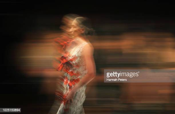 A model walks the runway in a design by Cecilia Kang Couture during the Resene Designer show during New Zealand Fashion Week 2018 at Viaduct Events...