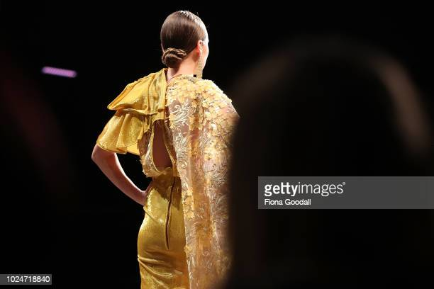Model walks the runway in a design by Cecilia Kang during the New Generation Emerging Couture show during New Zealand Fashion Week 2018 at Viaduct...