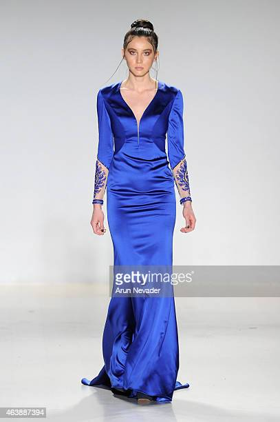 Model walks the runway in a design by Dany Tabet at the New York Life fashion show during Mercedes-Benz Fashion Week Fall 2015 at The Salon at...