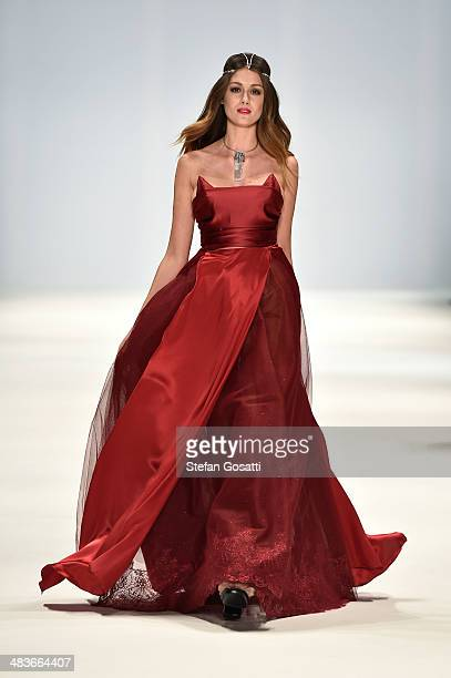 Model walks the runway in a design by Dyspnea at the New Generation show during Mercedes-Benz Fashion Week Australia 2014 at Carriageworks on April...