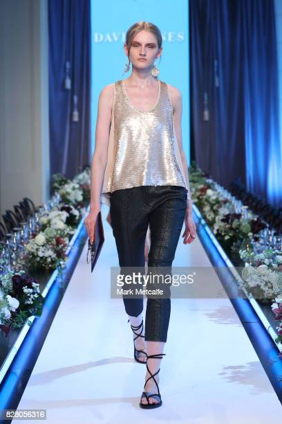 Model walks the runway in a design by Ginger & Smart during rehearsal ahead of the David Jones Spring Summer 2017 Collections Launch at David Jones...