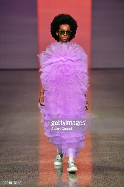 Model walks the runway in a design by Havilah during the New Generation show during New Zealand Fashion Week 2018 at Viaduct Events Centre on August...