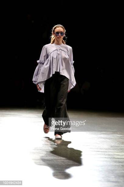 Model walks the runway in a design by Havilah during the New Generation show during New Zealand Fashion Week 2018 at Viaduct Events Centreâ on August...