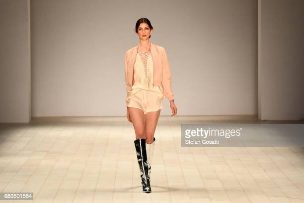 A model walks the runway in a design by Isabelle Quinn during the Project NextGen show at MercedesBenz Fashion Week Resort 18 Collections at...