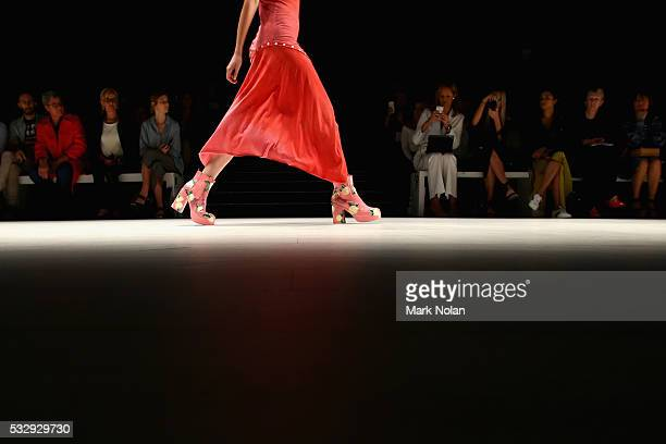 A model walks the runway in a design by Jason Hewitt at the StGeorge Project NextGen show at MercedesBenz Fashion Week Resort 17 Collections at...