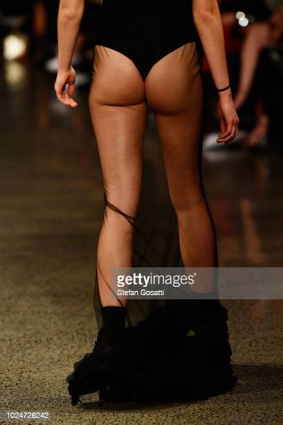 A model walks the runway in a design by Judy Gao Couture during the New Generation Emerging Couture show during New Zealand Fashion Week 2018 at...