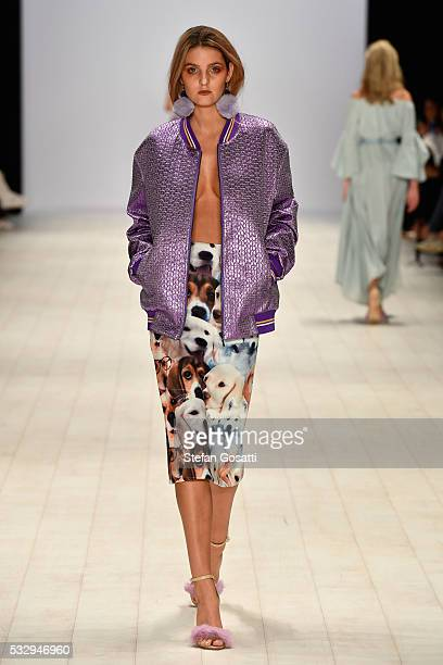 A model walks the runway in a design by Kaliver at the StGeorge Project NextGen show at MercedesBenz Fashion Week Resort 17 Collections at...