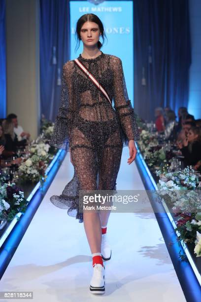 A model walks the runway in a design by Lee Mathews during the David Jones Spring Summer 2017 Collections Launch at David Jones Elizabeth Street...