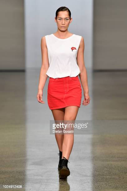 A model walks the runway in a design by LVLD during the New Generation show during New Zealand Fashion Week 2018 at Viaduct Events Centre on August...