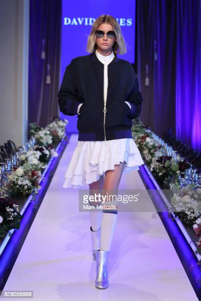 A model walks the runway in a design by Maggie Marilyn during rehearsal ahead of the David Jones Spring Summer 2017 Collections Launch at David Jones...