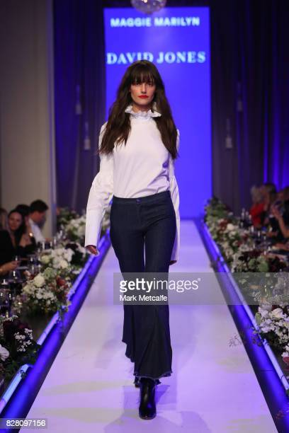A model walks the runway in a design by Maggie Marilyn during the David Jones Spring Summer 2017 Collections Launch at David Jones Elizabeth Street...