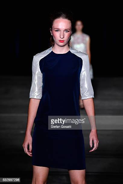 A model walks the runway in a design by Marika Deku at the Pacific Resort show at MercedesBenz Fashion Week Resort 17 Collections at Carriageworks on...