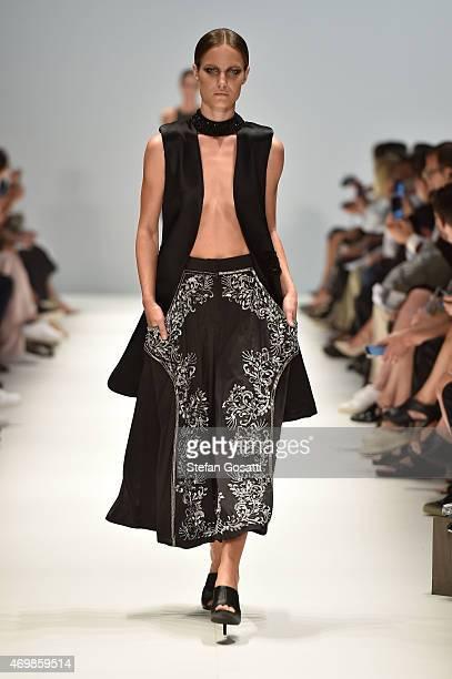 A model walks the runway in a design by Marriam Seddiq at the St George New Generation show at MercedesBenz Fashion Week Australia 2015 at...