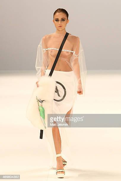 A model walks the runway in a design by Mat Lee at The Innovators Fashion Design Studio show at MercedesBenz Fashion Week Australia 2015 at...