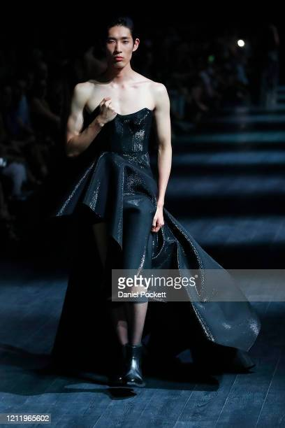 A model walks the runway in a design by MATICEVSKI during the Grand Showcase show at Melbourne Fashion Festival on March 12 2020 in Melbourne...