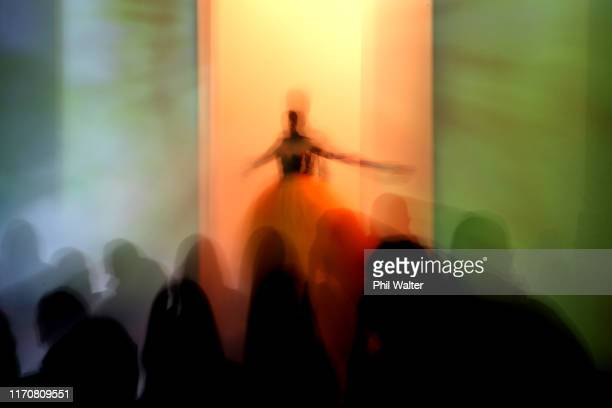 A model walks the runway in a design by Miromoda during the Resene Designer show during New Zealand Fashion Week 2019 at Auckland Town Hall on August...