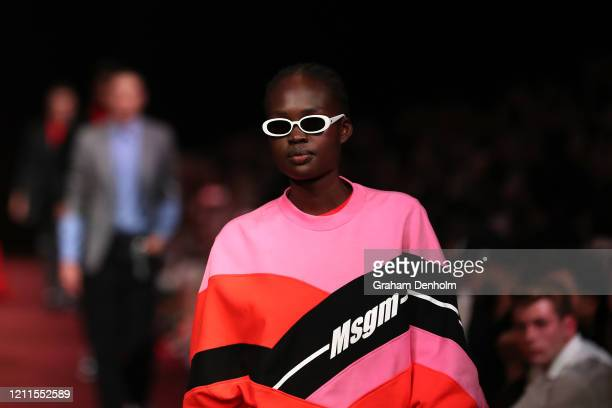 Model walks the runway in a design by MSGM during the Gala Runway 1 show at Melbourne Fashion Festival on March 10, 2020 in Melbourne, Australia.