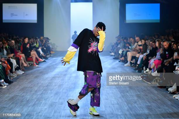 A model walks the runway in a design by Nash Karaitiana during the MIROMODA show during New Zealand Fashion Week 2019 at Auckland Town Hall on August...