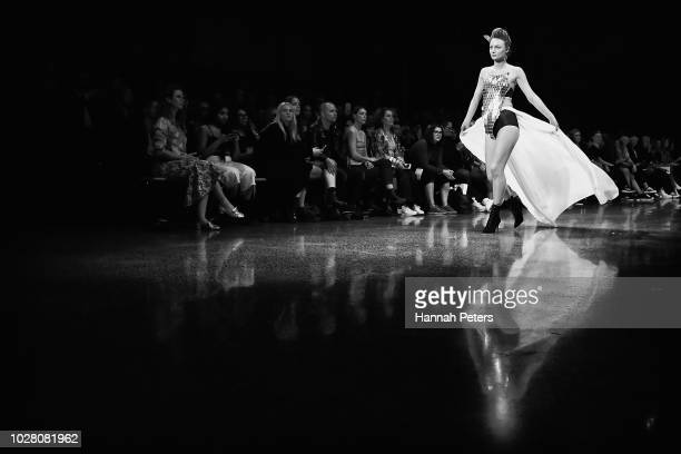 A model walks the runway in a design by Nichola Te Kiri during the Miromoda Showcase show during New Zealand Fashion Week 2018 at Viaduct Events...