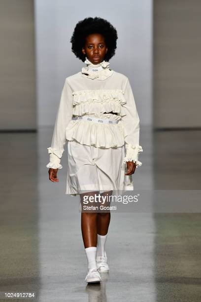 A model walks the runway in a design by Olli during the New Generation show during New Zealand Fashion Week 2018 at Viaduct Events Centre on August...