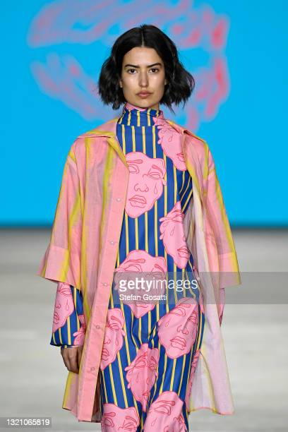 Model walks the runway in a design by Outfaced during the Next Gen show during Afterpay Australian Fashion Week 2021 Resort '22 Collections at...