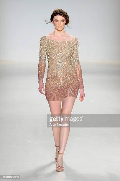 Model walks the runway in a design by Patrícia Bonaldi at the New York Life fashion show during Mercedes-Benz Fashion Week Fall 2015 at The Salon at...