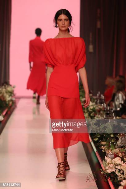 A model walks the runway in a design by Scanlan Theodore during the David Jones Spring Summer 2017 Collections Launch at David Jones Elizabeth Street...