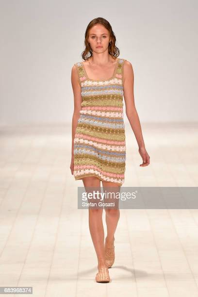 A model walks the runway in a design by She Made Me during the Swim show at MercedesBenz Fashion Week Resort 18 Collections at Carriageworks on May...