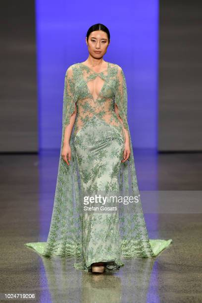 A model walks the runway in a design by Srishti Kaur Designs during the New Generation Emerging Couture show during New Zealand Fashion Week 2018 at...