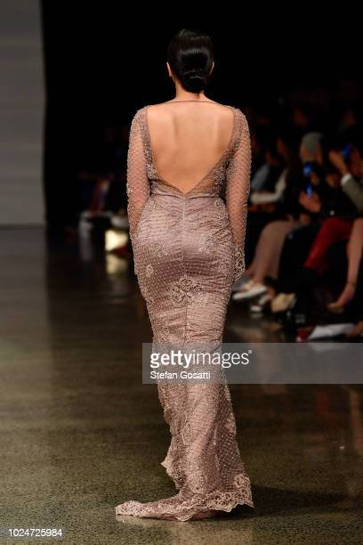 Model walks the runway in a design by Srishti Kaur Designs during the New Generation Emerging Couture show during New Zealand Fashion Week 2018 at...