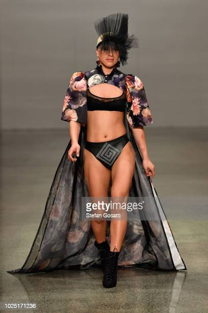 A model walks the runway in a design by Te Kohu Misty Ratima Avant Garde during the Miromoda Showcase show during New Zealand Fashion Week 2018 at...