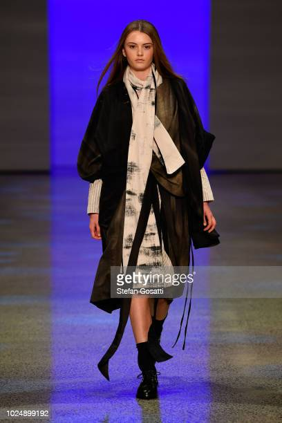 A model walks the runway in a design by The Remarkables during the NZFW The Graduate show during New Zealand Fashion Week 2018 at Viaduct Events...