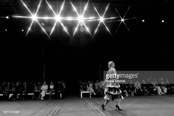 Model walks the runway in a design by Thomas Zilioli during The Innovators: FDS TAFE NSW show during Afterpay Australian Fashion Week 2021 Resort '22...