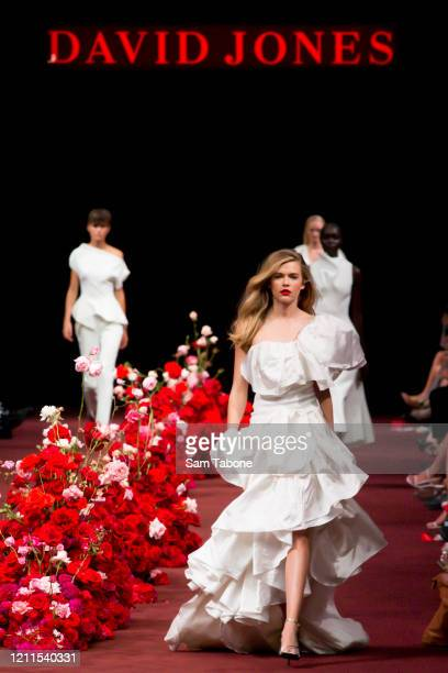A model walks the runway in a design by Toni Maticevski during the Gala Runway 1 show at Melbourne Fashion Festival on March 10 2020 in Melbourne...