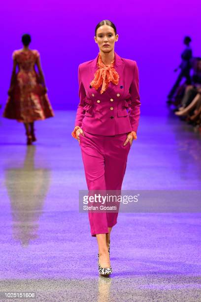 A model walks the runway in a design by Trelise Cooper during the Resene Designer show during New Zealand Fashion Week 2018 at Viaduct Events Centre...