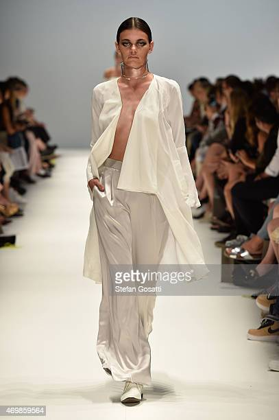 A model walks the runway in a design by Vanessa Moe at the St George New Generation show at MercedesBenz Fashion Week Australia 2015 at Carriageworks...