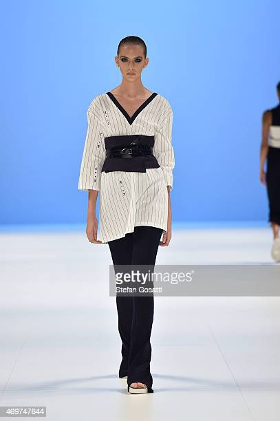 A model walks the runway in a design by Worn at The Innovators Fashion Design Studio show at MercedesBenz Fashion Week Australia 2015 at...