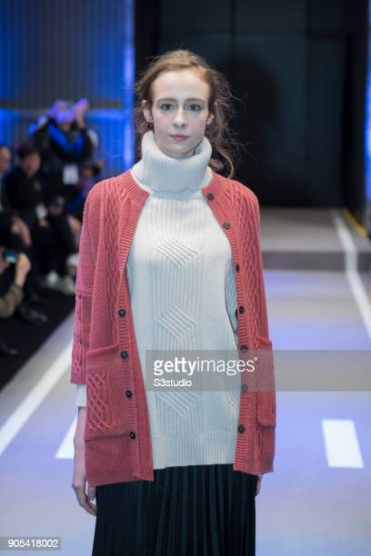 A model walks the runway in a design by Xingzhi Textiles during Hong Kong Fashion Week for Fall/Winter 2018 at Hong Kong Convention and Exhibition...