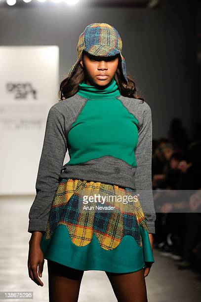 A model walks the runway in a William Okpo design for the Gen Art New Garde Designer Competition at Exit Art on February 9 2012 in New York City