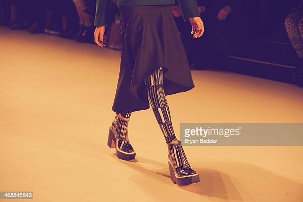 A model walks the runway in an alternative view of the KAAL ESUKTAE fashion show during MercedesBenz Fashion Week Fall 2014 on February 11 2014 in...