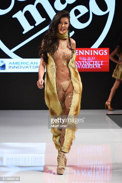 A model walks the runway in Antonella Commatteo at the Art Hearts Fashion LAFW Fall/Winter 2016 Day 3 at the Taglyan Cultural Complex on March 15...