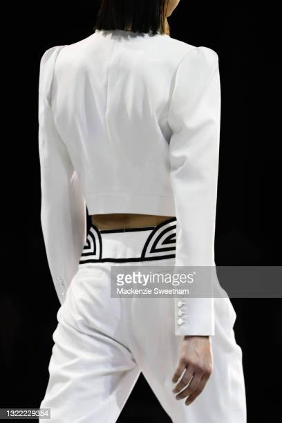 Model walks the runway in deigns by Sass and Bide during the Afterpay's Future of Fashion show during Afterpay Australian Fashion Week 2021 Resort...